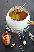 Duck breast fondue with apple compote