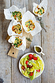Vegetable muffins with a tomato and cos lettuce salad