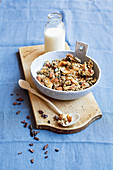 Oat and nut granola with chia seeds and chocolate