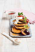 Poppyseed pancakes with damson compote and yoghurt