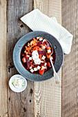 Vegan beetroot stew with smoked tofu and soya yoghurt