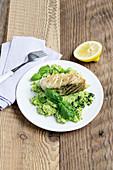 Seelachsfilet mit Brokkoli-Pesto-Püree