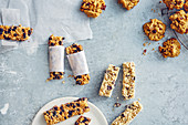 Muesli bars, peanut butter cookies, and quinoa and chocolate bars