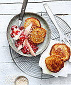 Amaranth pancakes with pomegranate and pear compote