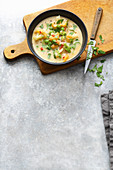 Vegan cauliflower soup with coconut milk