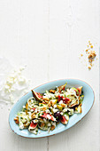 Raw fennel salad with figs, pears and feta cheese
