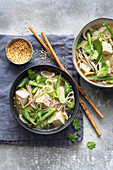 Vegan tofu miso soup with soba noodles