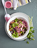 Bean and farro salad with beetroot dressing