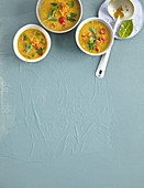 Red lentil soup with tomatoes and ginger