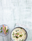 Salsify soup with smoked trout