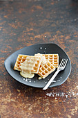 Waffles with butterscotch