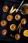 Orange cakes with cinnamon and star anise
