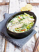 Fried fish with spring vegetables
