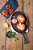 Stuffed grilled tomatoes with feta cheese