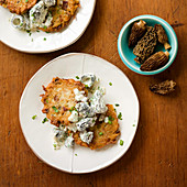 Creamed Morel Mushrooms witih Potato and Chanterelle Mushroom Latkes