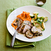 Grilled Pork Tenderloin with Apple Sage Sauce and brussel sprouts