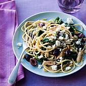 Greek Chicken Pasta with Baby Spinach and Kalamata Olives