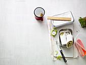 A tortilla wrap with pesto, herb quark, salami and Gouda