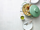 Cheese spätzle (soft egg noodles from Swabia) with king trumpet mushrooms and courgettes