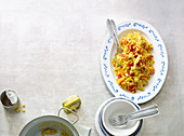 Mango rice with chicken, sweetcorn and pepper