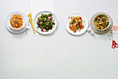 Four different crispy fresh salads