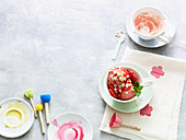Strawberry and elderflower ice cream sundaes