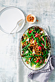 Green bean and radish salad chickpea dukkah