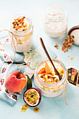 Overnight oats with peach and passion fruit