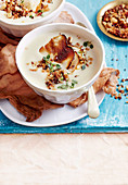 Leek and Celeriac Soup with Hazelnut Crunch