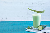 Aloe and cucumber smoothie with cilantro and soy yoghurt