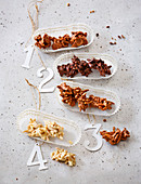 Light, dark and milk chocolate almond brittle