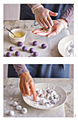 Blueberry truffles being rolled and covered in icing sugar