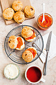 Muesli scones with carrot and orange marmalade