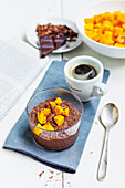 Chocolate and chia pudding with mango