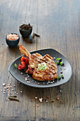 Veal chop with herb butter