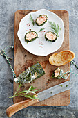 Poached chard roulade