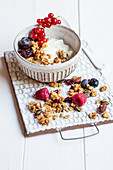 Granola muesli with dried fruit on natural yoghurt