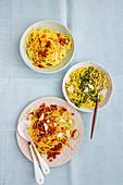 Spaghetti with pesto verde, pesto rosso and aglio, olio e peperoncino