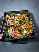 Spicy peanut chicken tray bake