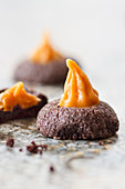 Chocolate biscuits with caramel