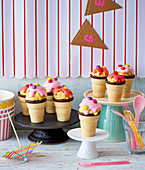 Colourful cake pop cones