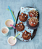 Hedgehog and bear chocolate muffins