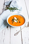 Tomato soup with sour cream and thyme