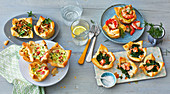 Four savoury puff pastry tartlets