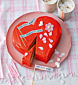 A heart-shaped ricotta and almond cake