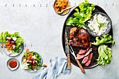 Bulgogi lamb with salad and chili sauce