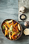 Roast potato and cabbage salad with creamy miso dressing