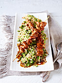 Broccoli couscous and Teriyaki chicken skewers
