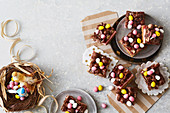 Marshmallow slices with colourful Easter eggs