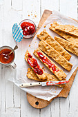 Peanut butter sticks with jam